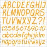 Met de hand geschreven Highlighter-Alfabet Stock Afbeeldingen