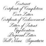 Met de hand geschreven kalligrafische taglines voor bedrijfsdocumenten Royalty-vrije Stock Foto