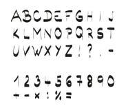 Met de hand geschreven kalligrafische zwarte alfabetdoopvont Royalty-vrije Stock Foto's