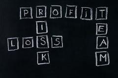 Met de hand geschreven met krijtwinst; risico; verlies; teamwoorden Royalty-vrije Stock Afbeeldingen