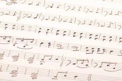 Met de hand geschreven muziekscore Stock Afbeeldingen