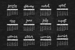 Met de hand geschreven namen van maanden December, Januari, Februari, Maart, April, Mei, Juni, Juli, Augustus, September, Oktober Stock Foto