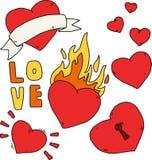Met de hand geschreven reeks stickers voor de Dag van Valentine Hart met brand, slot, lint Vlakke vector retro tatoegeringstekeni Stock Fotografie