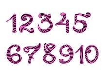 Met de hand geschreven roze gestreepte die cijfers op wit worden geïsoleerd Royalty-vrije Stock Afbeeldingen