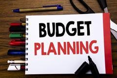 Met de hand geschreven tekst die Begroting Planning tonen Bedrijfsconcept voor het Financiële In de begroting opnemen Afgeschreve Stock Afbeelding