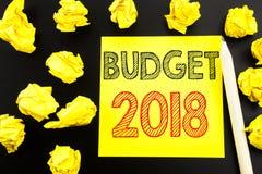 Met de hand geschreven tekst die Begroting 2018 tonen Bedrijfsconcept die voor Huishouden schrijven die boekhouding planning gesc Stock Afbeeldingen