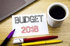 Met de hand geschreven teksttitel die Begroting 2018 tonen Bedrijfsconcept die voor Huishouden schrijven die boekhouding planning Royalty-vrije Stock Afbeelding