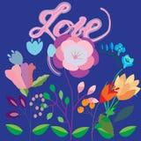 Met de hand geschreven vector - liefde, kaart Stock Foto