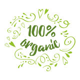 Met de hand geschreven vector van letters voorziend teken 100 organisch voor restaurant, koffiemenu Royalty-vrije Stock Foto's