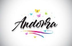 Met de hand geschreven Vectorword van Andorra Tekst met Vlinders en Kleurrijke Swoosh vector illustratie
