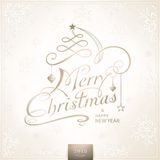 Met de hand geschreven Vrolijke Kerstkaart met sneeuwvlokken Royalty-vrije Stock Foto's