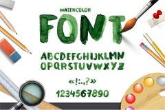 Met de hand geschreven waterverfalfabet met aantallen en symbolen Stock Foto