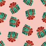 Met de hand getrokken Kerstmis naadloos patroon Blauwe gift met rood lint op een roze achtergrond Gelukkig Nieuwjaar royalty-vrije illustratie