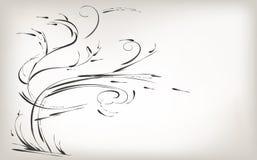 Met de hand trekkend, borstelaard en installaties, zwart-witte achtergrond royalty-vrije illustratie