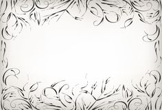 Met de hand trekkend, borstelaard en installaties, zwart-witte achtergrond vector illustratie