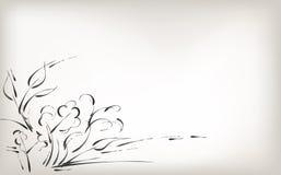 Met de hand trekkend, borstelaard en installaties, zwart-witte achtergrond stock illustratie
