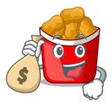 Met de kippengoudklompjes van de geldzak met het karakter worden geïsoleerd dat stock illustratie