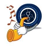 Met de mascottebeeldverhaal van het trompet golem muntstuk royalty-vrije illustratie
