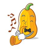 Met de mascottebeeldverhaal van de trompet butternut pompoen vector illustratie