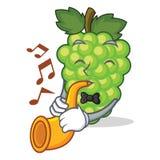 Met de mascottebeeldverhaal van trompet groen druiven royalty-vrije illustratie