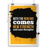 Met de nieuwe Dag komt nieuwe sterkte Inspirational citaat over het leven, nieuwe week, positieve uitdrukking Moderne typografiet Royalty-vrije Stock Fotografie