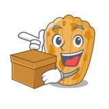 Met dooscake Madeleine isoleerde het Frans op mascotte stock illustratie