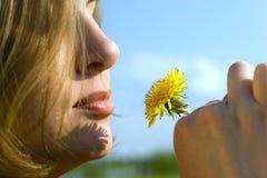 Met een bloem Stock Afbeeldingen