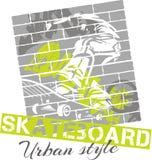 Met een skateboard rijdend - stedelijke stijl, vectorillustratie Stock Afbeeldingen