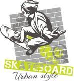 Met een skateboard rijdend - stedelijke stijl, vectorillustratie Royalty-vrije Stock Foto's
