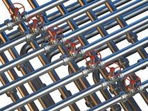 Met elkaar verbindende pijpen met kleppen Stock Foto