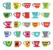 Ensemble de tasses colorées Image stock