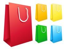 met en sac des achats colorés illustration libre de droits