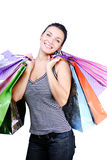 met en sac des achats de fille Image stock