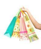 met en sac des achats femelles de fixation de main Photographie stock