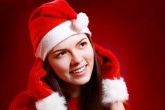 met en sac la femme de Santa Photos libres de droits