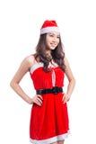 met en sac la femme de Santa La beauté Girl modèle asiatique en Santa Hat a isolé o Photos stock