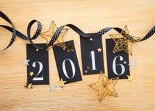 2016 met glitterydecoratie Royalty-vrije Stock Afbeeldingen