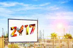 2017 met Haan op banner Royalty-vrije Stock Foto's