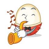 Met het beeldverhaalstijl van de trompet rambutan mascotte vector illustratie
