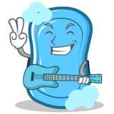 Met het karakterbeeldverhaal van de gitaar blauw zeep vector illustratie