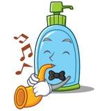 Met het karakterbeeldverhaal van de trompet vloeibaar zeep vector illustratie