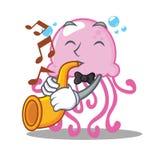 Met het karakterbeeldverhaal van trompet leuk kwallen royalty-vrije illustratie