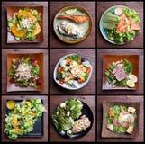 Met inbegrip van de gezonde reeks van de voedselsalade fruitsalade, hambacon, zalm, Royalty-vrije Stock Foto's