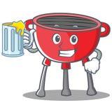 Met Juice Barbecue Grill Cartoon Character Stock Foto's