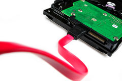 Met kabel aangesloten aan de harde schijf Royalty-vrije Stock Foto