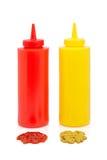 met la moutarde en bouteille de ketchup Image stock