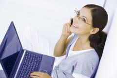 Met laptop Stock Fotografie