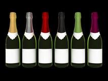 met le vin en bouteille de champagne Image libre de droits