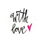 Met liefde Gelukkige de typografieaffiche van de Valentijnskaartendag met met de hand geschreven kalligrafieteksten, op witte ach Royalty-vrije Stock Fotografie