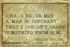 Met man Galileo. I have never met a man so ignorant that I couldn`t learn something - ancient Italian astronomer, physicist, engineer, philosopher, and Stock Image